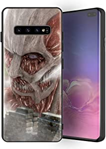 for Galaxy S10 Plus, Attack on Titan (Shiso no Kyojin) Design 388 Tempered Glass Phone Case, Anti-Scratch Soft Silicone Bumper Ultra-Thin Galaxy S10 Plus Cover for Teens and Adults