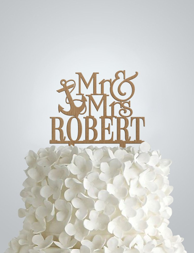 Wedding Cake Topper in Wood - Anchor with name