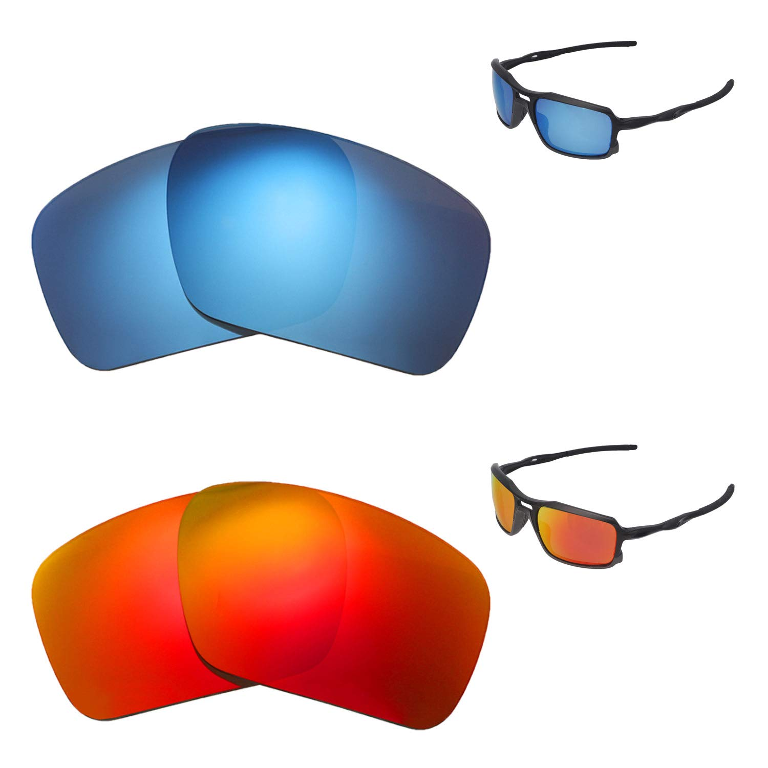 83ca9db4f2 Amazon.com  Walleva Polarized Fire Red + Ice Blue Replacement Lenses For  Oakley Triggerman Sunglasses  Clothing