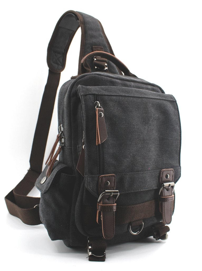Canvas Shoulder Backpack Travel Rucksack Sling Bag Cross Body Messenger Bag,180308Black 180308-02