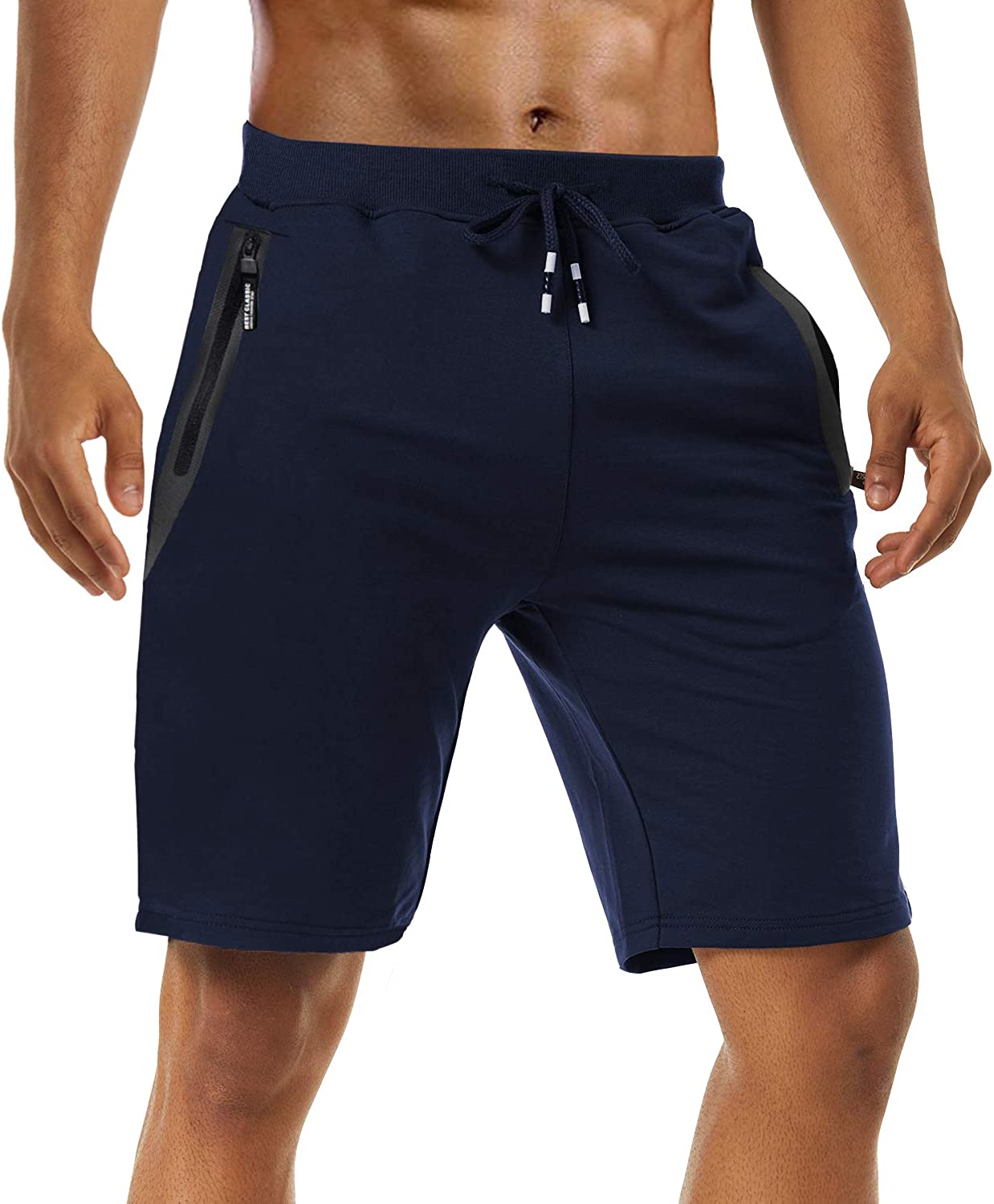 FASKUNOIE Men's Casual Shorts Elastic Gym Workout Cotton Jogger Shorts with Zipper Pockets