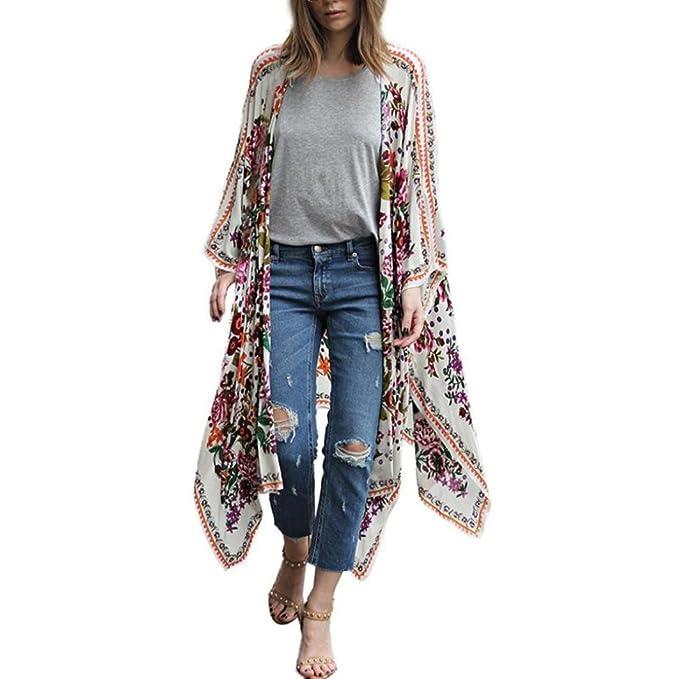 4356e7d11f114 Hffan Damen Mode Cardigan Mantel Frauen Elegant Chiffon lose Lang Schal  Kimono Blumen Drucken Bluse Strickjacke