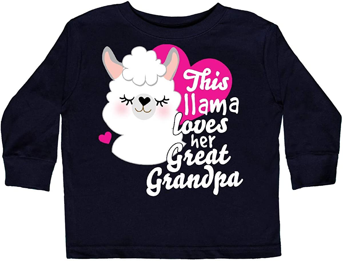 inktastic Valentines Day This Llama Loves Her Great Toddler Long Sleeve T-Shirt
