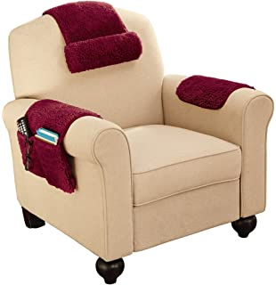 Sherpa Fleece Armchair Cover   Set Of 3, Burgundy