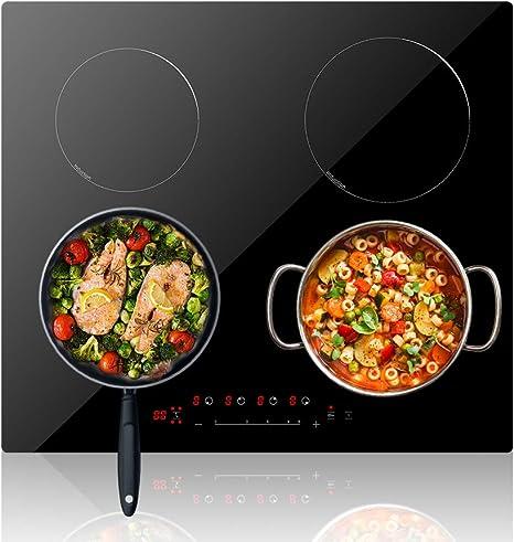 color negro Placa de inducci/ón 6800 W el/éctrica incorporada de vitrocer/ámica con 4 fuegos