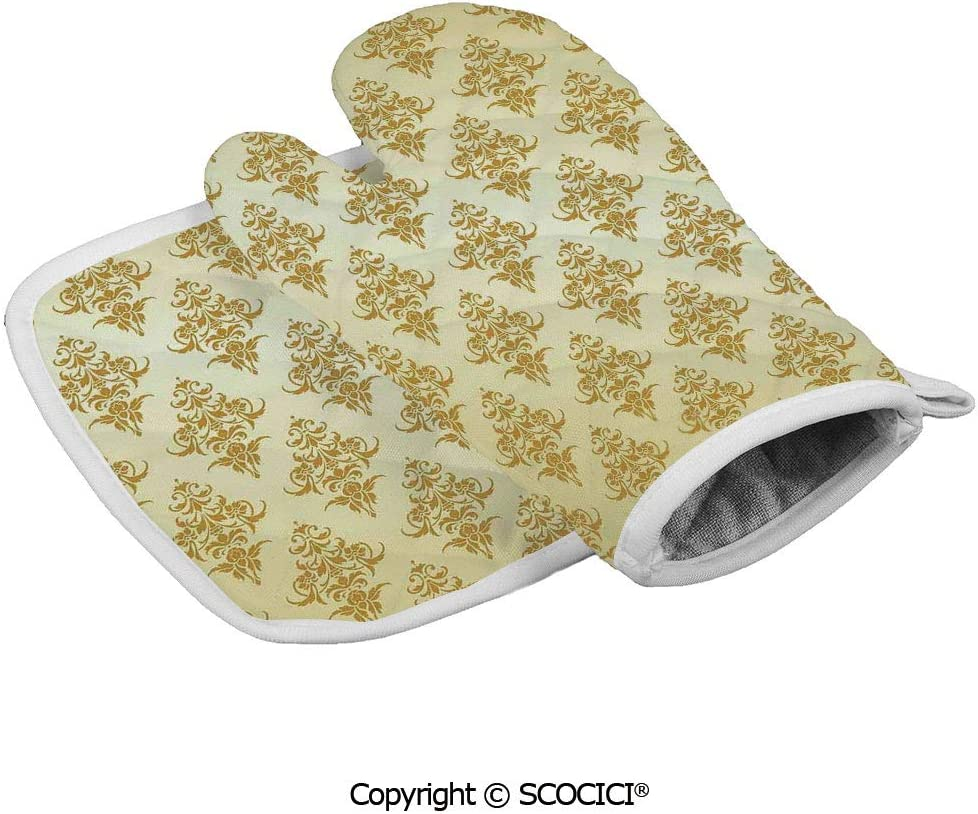SCOCICI Oven Mitts,Professional Heat Resistant Traditional Victorian Renaissance Antique Patterns on Vintage Background Design Non-Slip Kitchen Oven Glove for Cooking,Baking,Barbecue Potholders