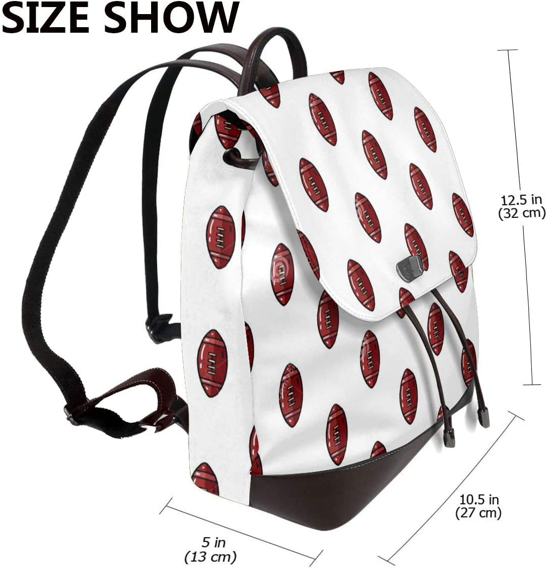 Women PU Leather Fashion Backpack Purse Football Travel School Shoulder Bag Girls Ladies Daypack Handbags