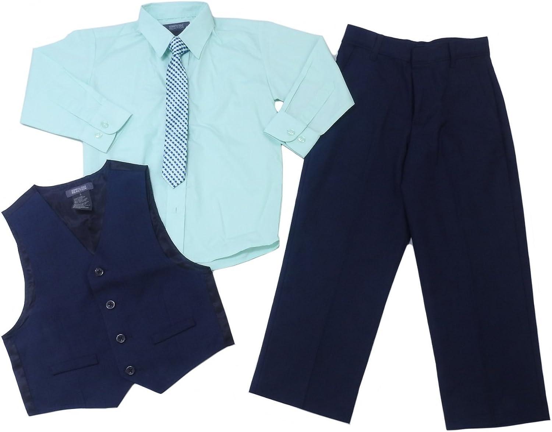 18 Months Kenneth Cole Reaction Boys 4-Piece Pants Suit Set Khaki//Blue