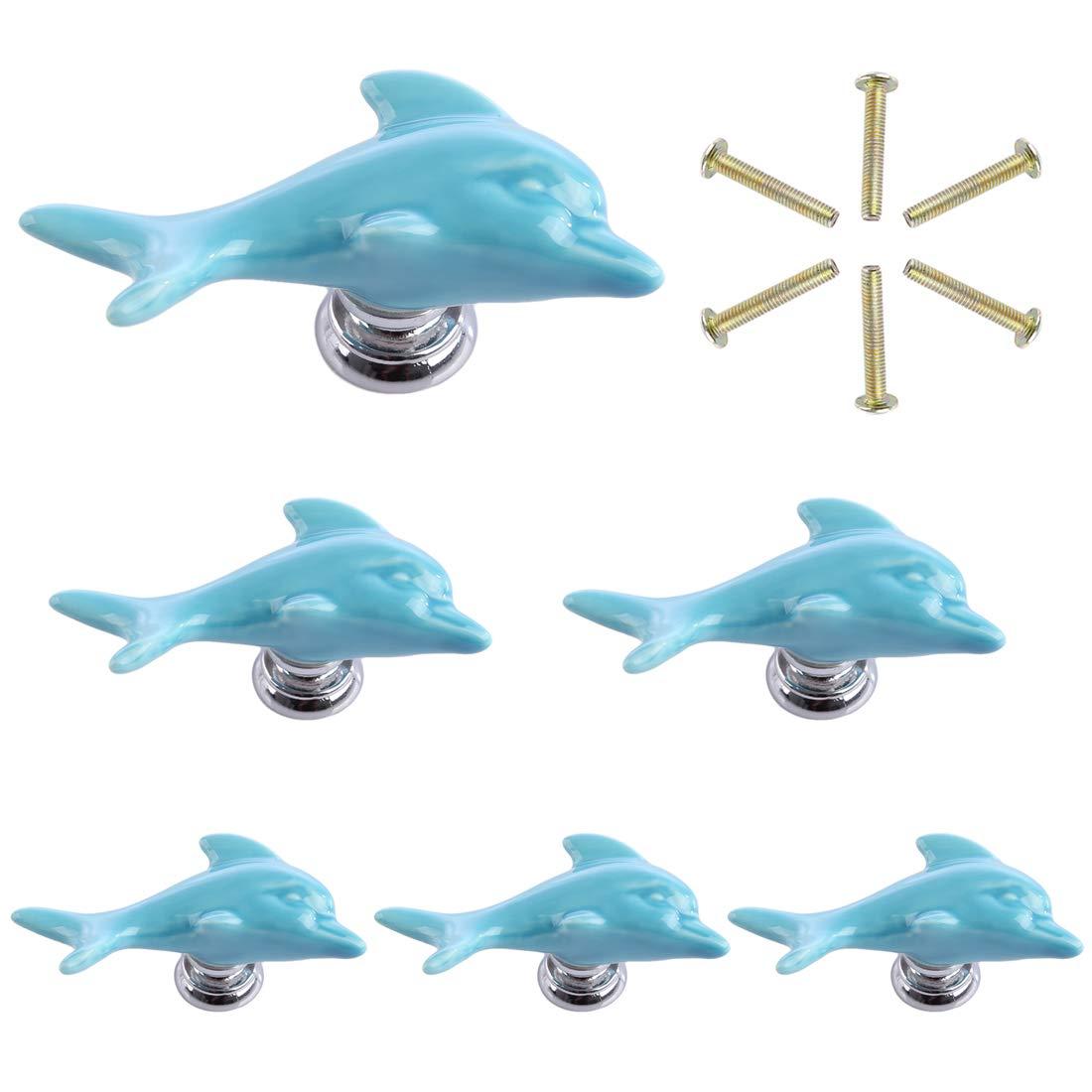 Blau Mecotech 6 St/ück Keramik Delfin T/ürkn/öpfe M/öbelkn/öpfe Schrankgriffe Schrankkn/öpfe M/öbelgriff T/ürknopf f/ür Schrank//Schublade//Kinderzimmer Deko