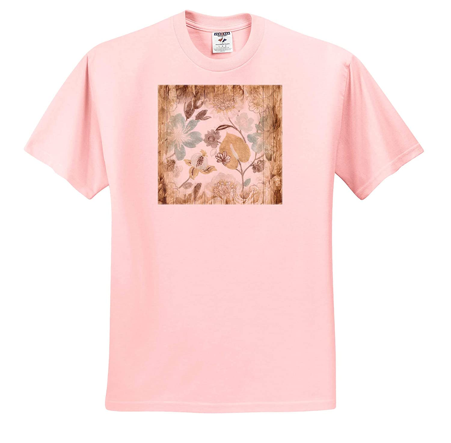 3dRose Lens Art by Florene Image of Soft Gold and Aqua On Aged Tan Wood Adult T-Shirt XL ts/_309488 Vintage Floral Art