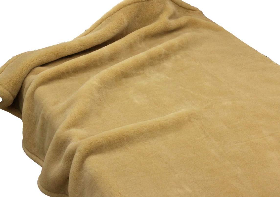 暖かい メリノ ウール マイヤー毛布 シングルサイズ 140x200cm 洗濯 公式三井毛織国産 ベージュ B07NDX6XNS