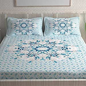 Divine Casa Ethnic 104 TC Cotton Double Bedsheet with 2 Pillow Covers – Abstract, Sky Blue
