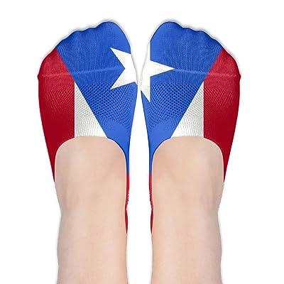 PIOL Flag Of Puerto Rico Socks Funny Anti Slip Low Cut Crew Boat Sock Hidden Flat Line
