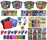 Totem World Pokemon Premium Collection 100 Cards with GX Mega EX Shining Holo 10 Rares 4 Booster Pack - 100 Sleeves - Card Case - Deck Box and Figure