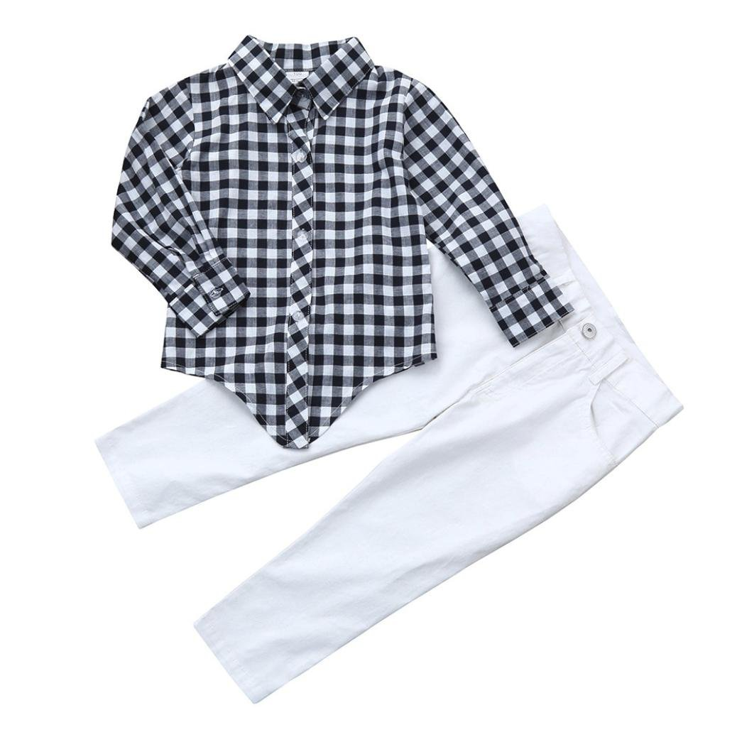 Jchen(TM) Baby Kids Little Girl Long Sleeve Plaid Shirt+Denim Pants 2pcs Fashion Clothes Set for 1-6 Years Old Girls (Age: 3-4 Years Old)