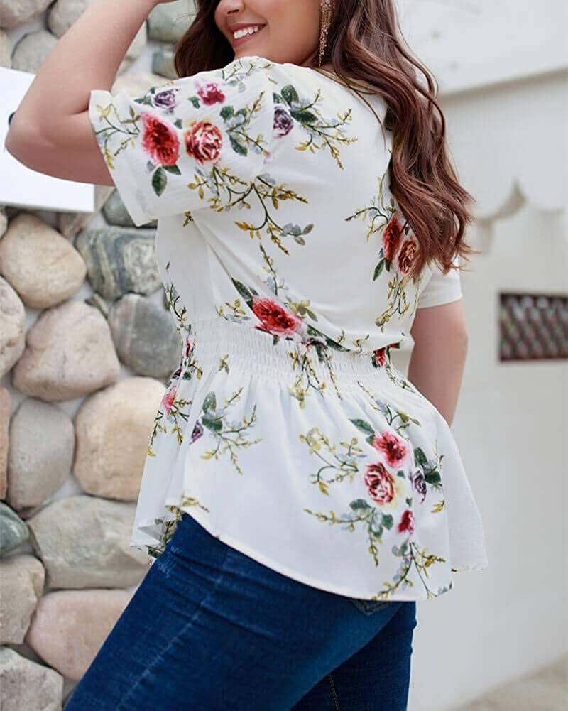 Holagift Womens Plus Size Shirt Floral Print Short Sleeve Zipper V Neck Casual Blouse Top Shirts