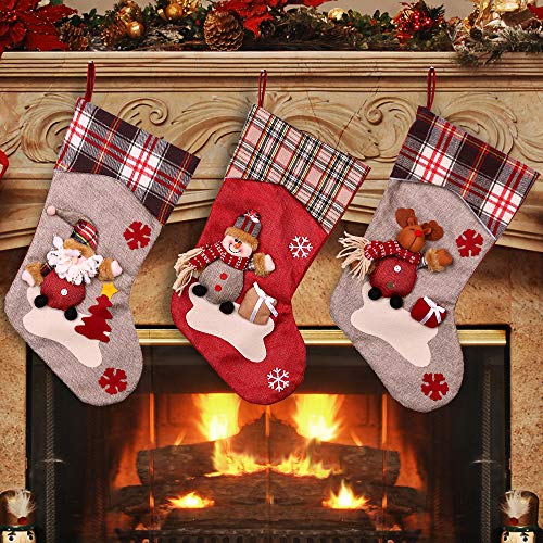 YAMUDA Christmas Stocking, 3Pcs Classic Socks for Xmas Home Decor, Stuffed Christmas Tree Hanging Toys, Candy Gift Bag Holders for Kids, Restaurant Hotel Decorations and Party Supplies (Xmas-01) ()