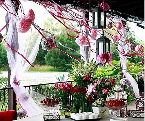 Kubert® Pom Poms -18Pcs of 8'' 10'' 14'' Multi-Colors Tissue Paper Flowers Pom Poms Wedding Decor Party Decor Pom Pom Flowers Pom Poms Craft Pom Poms Decoration-Vintage Hanging Lantern by Kubert (Image #5)