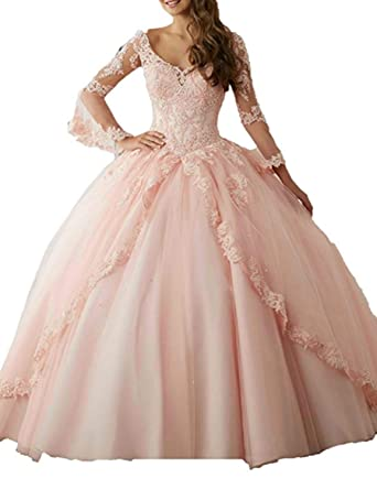 dedf979d82 A Line Puffy Quinceanera Dresses 2019 Long Formal Ball Gown Appliqued  Empire Waist Evening Dresses with