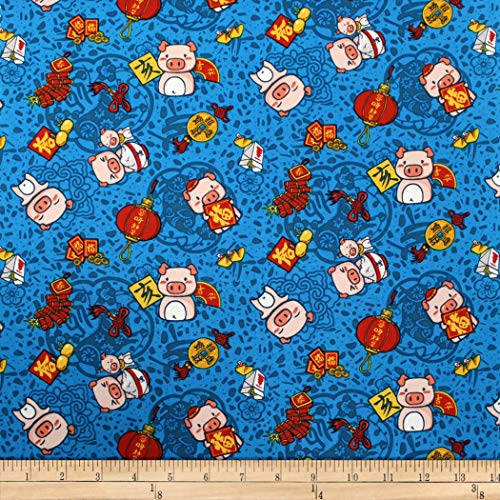 - Trans-Pacific Textiles Oriental Year of The Pig Turquoise Fabric by The Yard