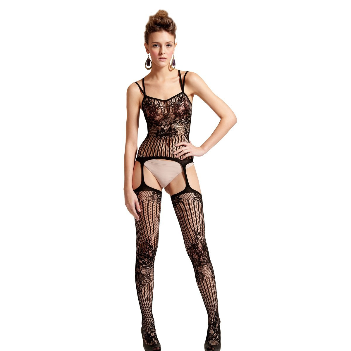 d2a963b515e Amazon.com  SpotLight Hosiery Elite Quality Women s OnePiece Floral Hexagon  Net Garter Bodystocking  Clothing