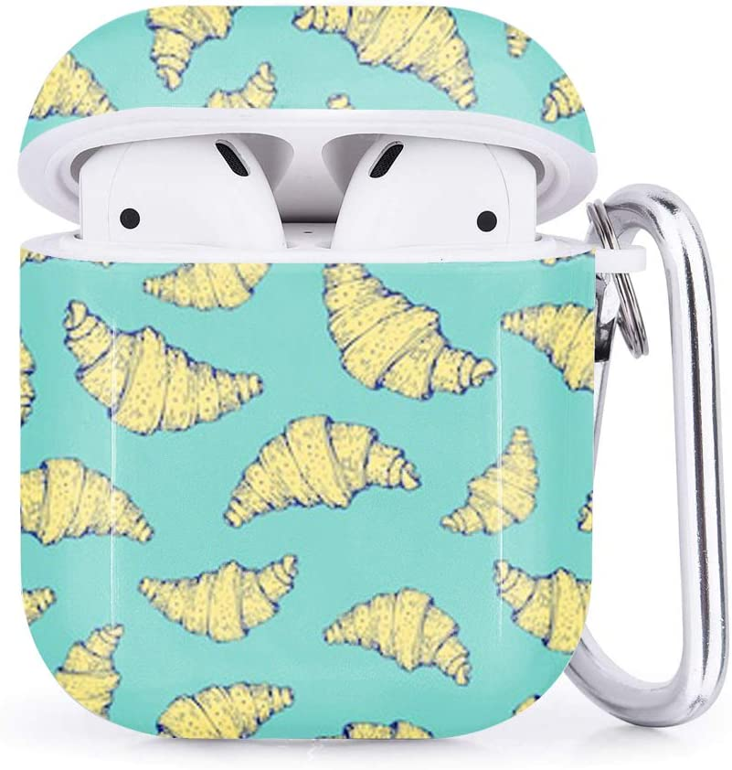 Nature Croissant Fresh Compatible with Airpods 2 /& 1 Shockproof TPU Gel Portable Protection Soft Case Cover Skin with Carabiner Clip Keychain