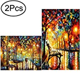 Standie 2 Pack DIY Diamond Painting Set 5D Full Drill Embroidery Rhinestone Painting Kit 5D Decorating Wall Stickers for Living Room (50 x 42cm Rainy Night & 40 x 30cm Walking in The Rainy Night)