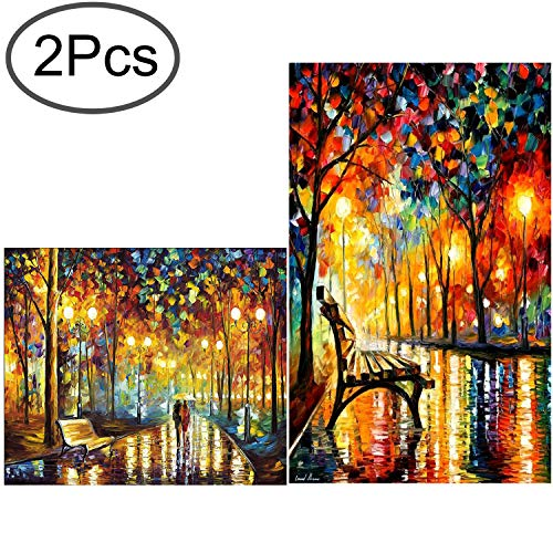 Standie 2 Pack DIY Diamond Painting Set 5D Full Drill Embroidery Rhinestone Painting Kit 5D Decorating Wall Stickers for Living Room (50 x 42cm Rainy Night & 40 x 30cm Walking in The Rainy Night) by Standie