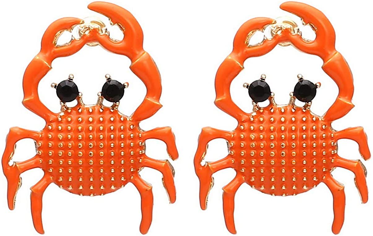 Crab Earrings for Women, Enamel Crab Ear Stud Earrings, Seafood Earrings Hypoallergenic,Cute Student Alloy CZ Jewelry Gifts for Girls