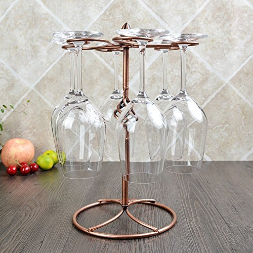 LOHOME Wine Glass Rack, 6 Stemware Wine Glass Air Drying Rack System Cups Holder Display Stand Upside Down Hanging Cup Holder Hold - Bronze (Glasses Not Included) (Bronze.) by LOHOME