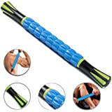 """THINK SOGOOD Muscle Roller Stick,17.7"""" Massage Tools with 9 Rollers and Anti Slip Handle for Athletes Releasing Pressure Points,Reducing Muscle Soreness,Soothing Cramps and Relieving Muscle Pain(Blue)"""