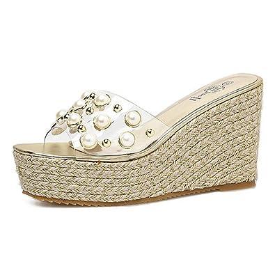 cecf59018268 CYBLING Womens Open Toe Espadrille Platform Wedge Sandals Transparent Band  Summer Slide Sandals Gold