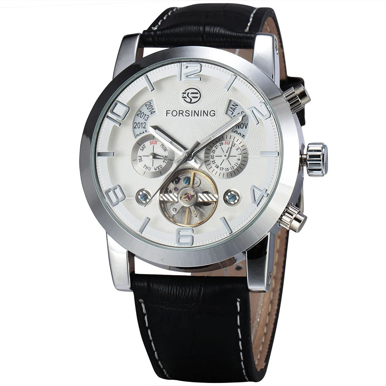 FORSININGメンズ6 Hands Flywheel自動機械カレンダー表示アラビアNumberals腕時計レザーバンド 3# B071Z3ZHN63#
