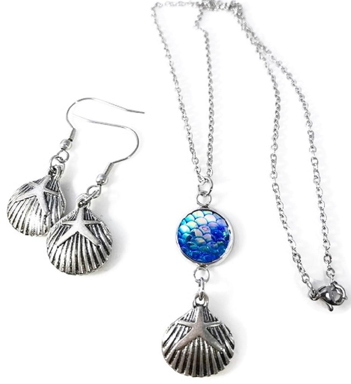 Pizazz Studios Seashell Mermaid Scale Necklace and Dangle Earrings Set - Blue