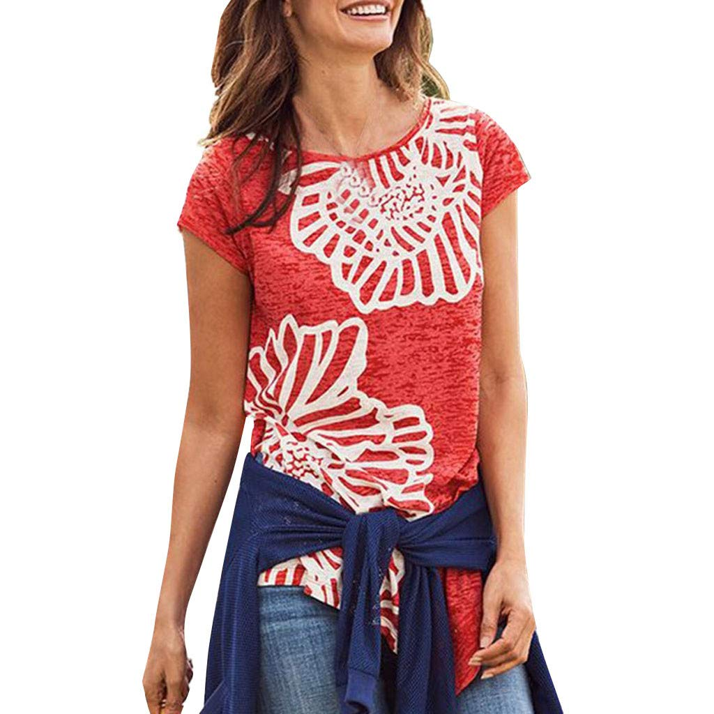 LIM&Shop Women Summer Short Sleeve T-Shirt Floral Print Shirt Plus Size Loose Blouse Crew Neck Tee Comfy Tunic Top Red by LIM&SHOP-Women Tops