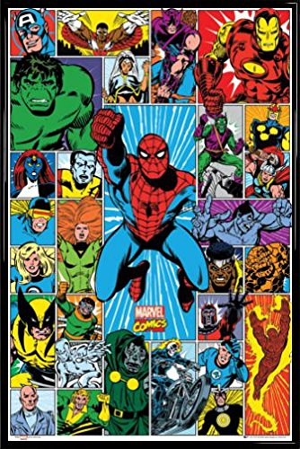Amazon.com: Marvel Comics Poster and Frame (Plastic) - Grid (36 x 24 ...