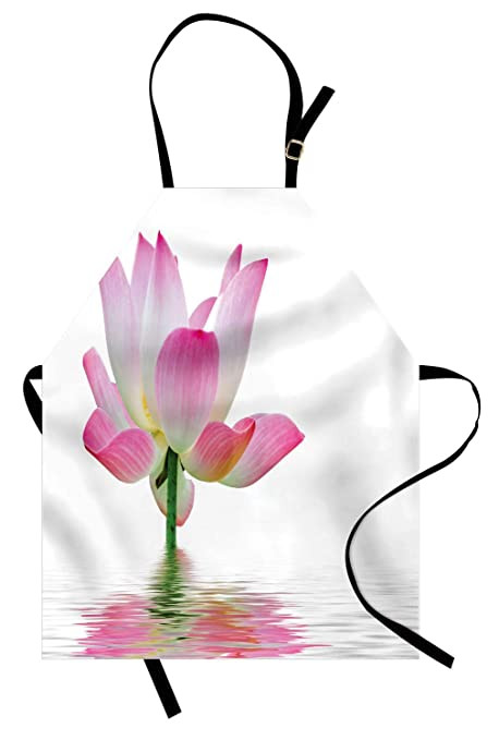 Amazoncom Ambesonne Pink And White Apron Lotus Flower In