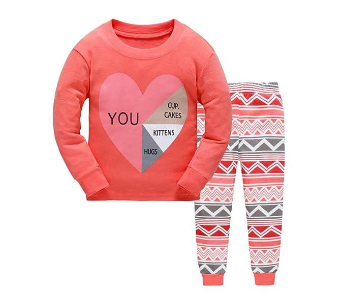 Pijamas para niños Conjuntos de ropa para niños Conjunto de niñas Pijamas de algodón Pijamas 2-7 años: Amazon.es: Ropa y accesorios