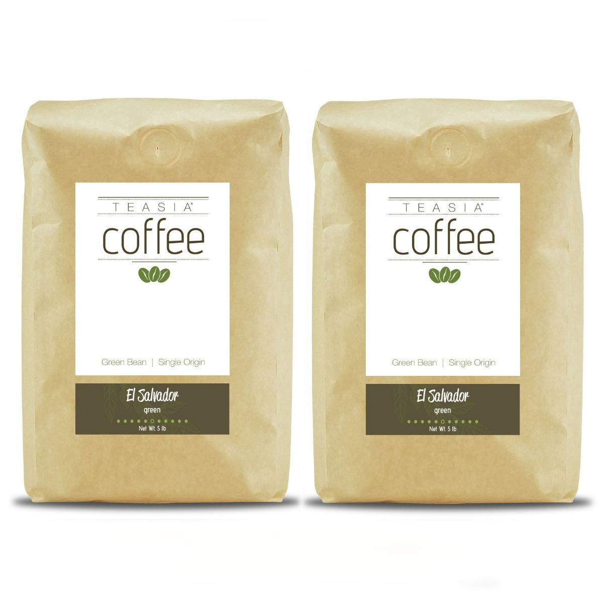 Teasia Coffee, El Salvador, Single Origin Fair Trade, Green Unroasted Whole Coffee Beans, 5-Pound Bag (2-Pack)