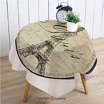 Amazon Com Paris Decor Square Polyester Tablecloth Vintage