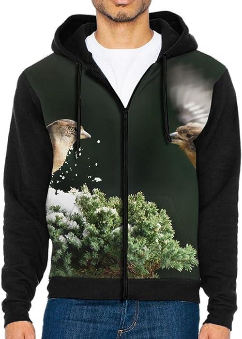 e5202b6302019e Unique Mens Hoodies 3D Design Full Zip Flying Birds Couple Zipper  Sweatshirt Tops With Kanga Pocket