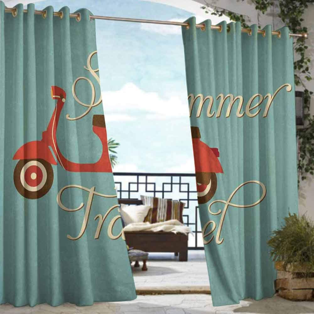DILITECK Grommet Extra Long Curtains 1960s Decorations Summer Travel Scooter Vacation Vespa Classic Wheels Rock Cool Cycle Hippy Motorbike Design Room Darkening, Noise Reducing W72 xL84 by DILITECK