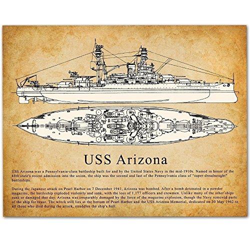 USS BB-39 Arizona Battleship - 11x14 Unframed Art Print - Great Gift for Navy or Military World War II (WWII) Veterans (Pearl Inkjet)