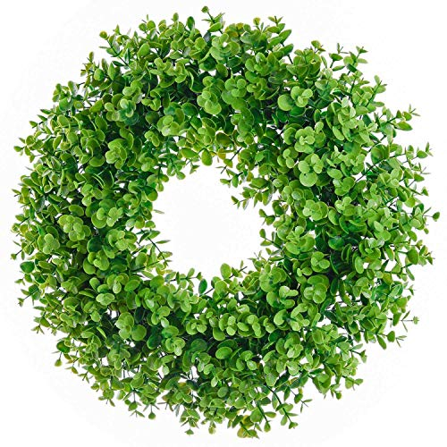 SODIAL Artificial Green Leaves Wreath Eucalyptus Milano Grass Wreath- 17 inch Fake Eucalyptus Wreath Outdoor Green Wreath for Front Door Wall Window Party Décor