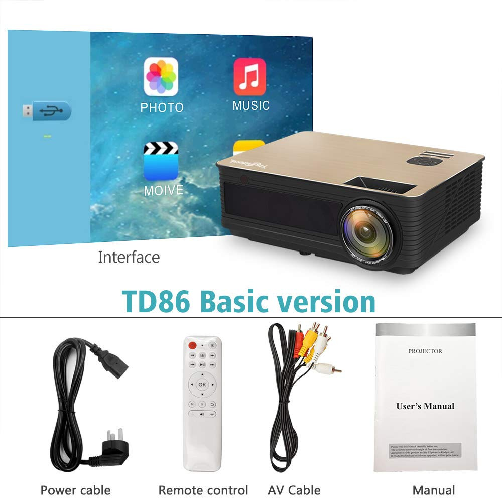 OSB STYLE Proyector HD TD86 4000 Lumen Android 6.0 WiFi Bluetooth ...