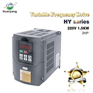 VFD 220V 1.5KW 2hp Variable Frequency Drive CNC Motor Inverter Converter for Spindle Speed Control HUANYANG HY-Series(1.5KW, 220V)