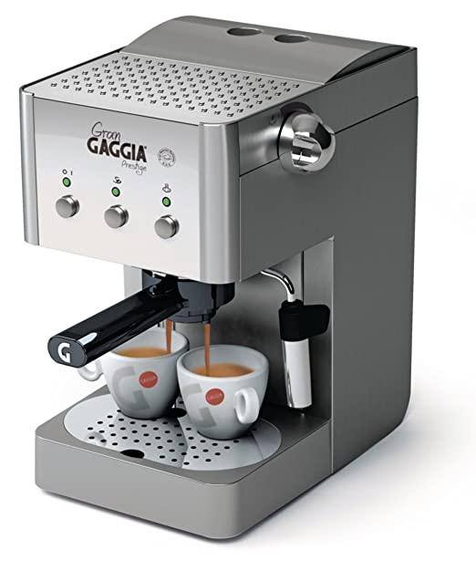 Gaggia RI8327/08 Gran Gaggia Prestige - Cafetera manual (con portafiltros, pitorro para crema a presión, tubo de vapor y superficie para tazas)