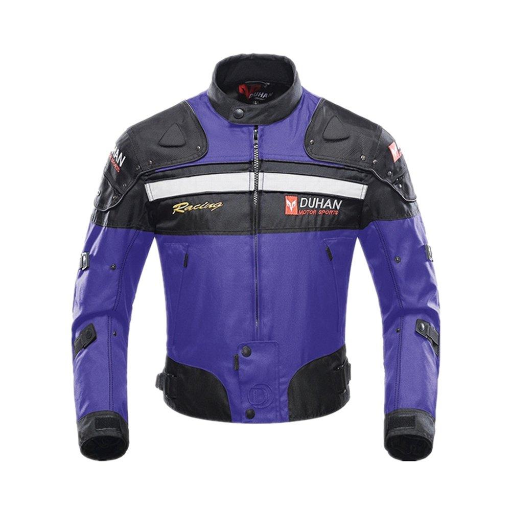 Motorcycle Jacket Motorbike Riding Jacket Windproof Motorcycle Full Body Protective Gear Armor Autumn Winter Moto Clothing (Blue, XXL)
