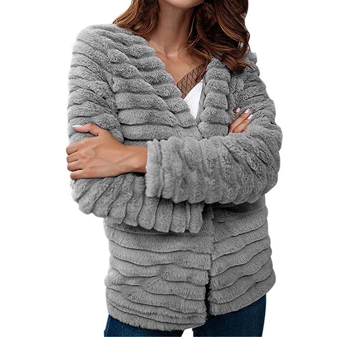 Longra Señoras de Las Mujeres cálidas Abrigo de Piel Artificial Chaqueta de Moda Abrigos de Invierno