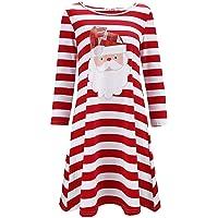WOCACHI Christmas Dresses Womens Xmas Santa Stripe Long Sleeves Party Mini Dress